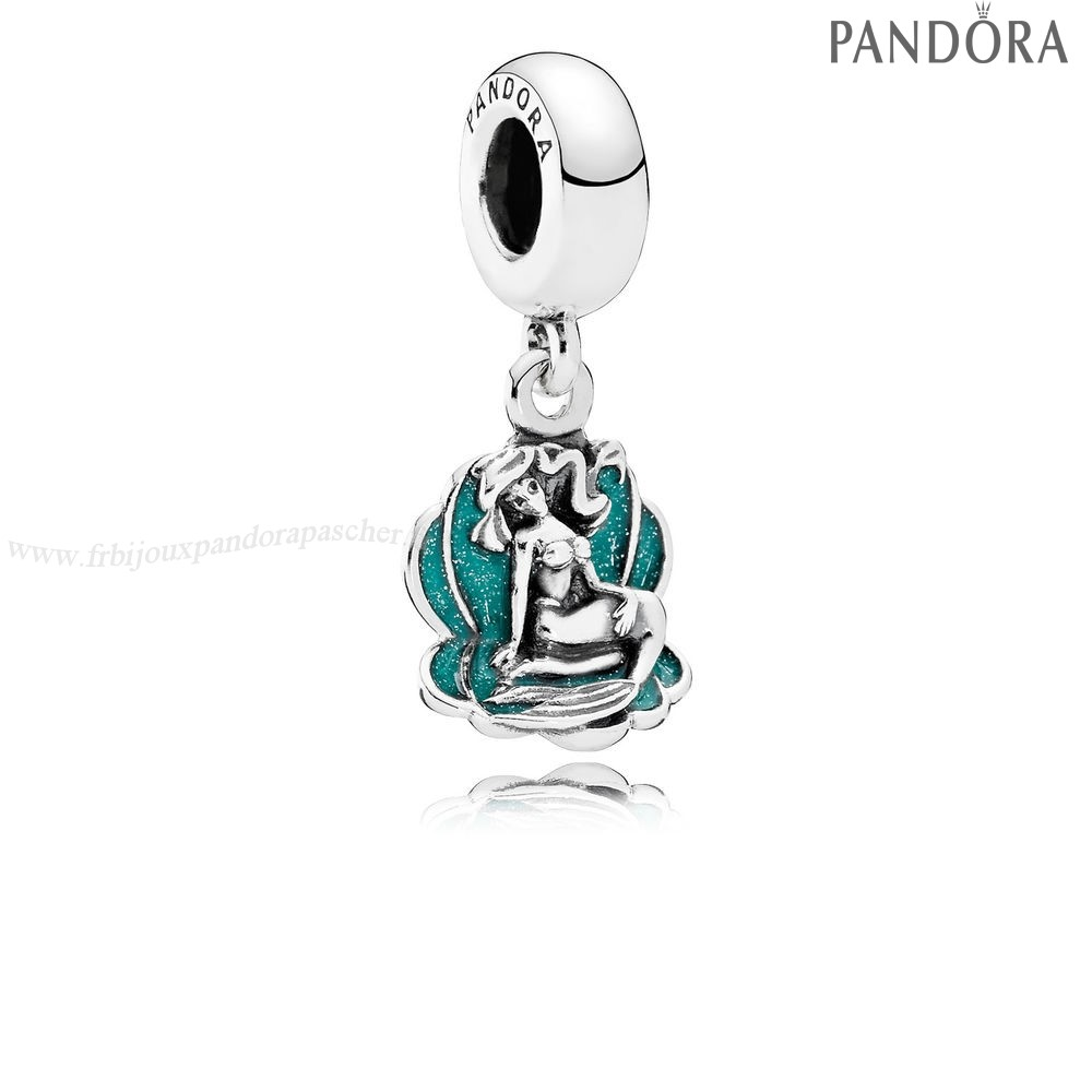 Pandora Promotion Disney Ariel Breloque Sea Shell Dangle Glittery Seafoam Vert Enamel En Ligne