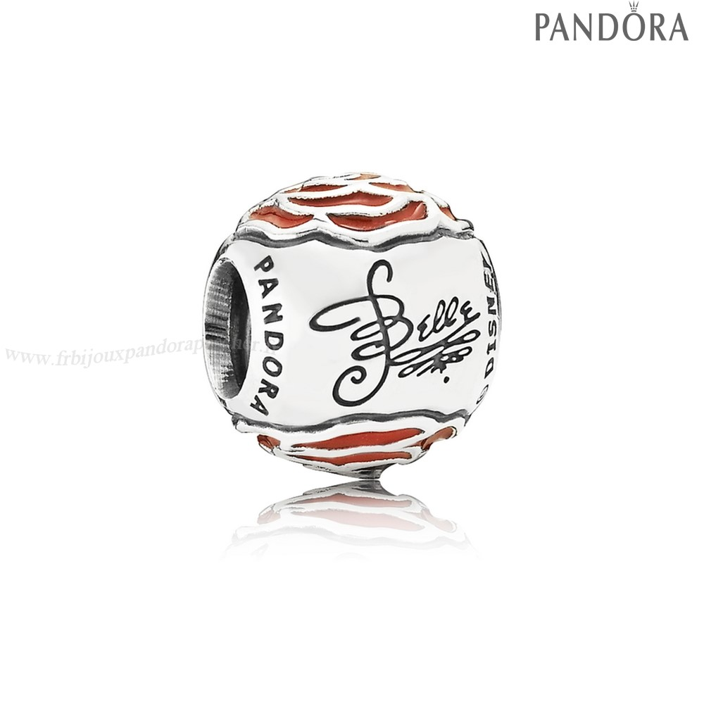 Pandora Promotion Disney Belle'S Enchante Rose Charm Red Enamel En Ligne
