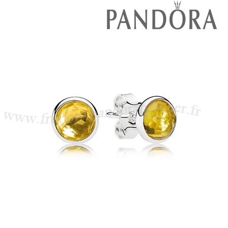 Pandora Promotion November Droplets Stud Boucles D'Oreilles Citrine En Ligne