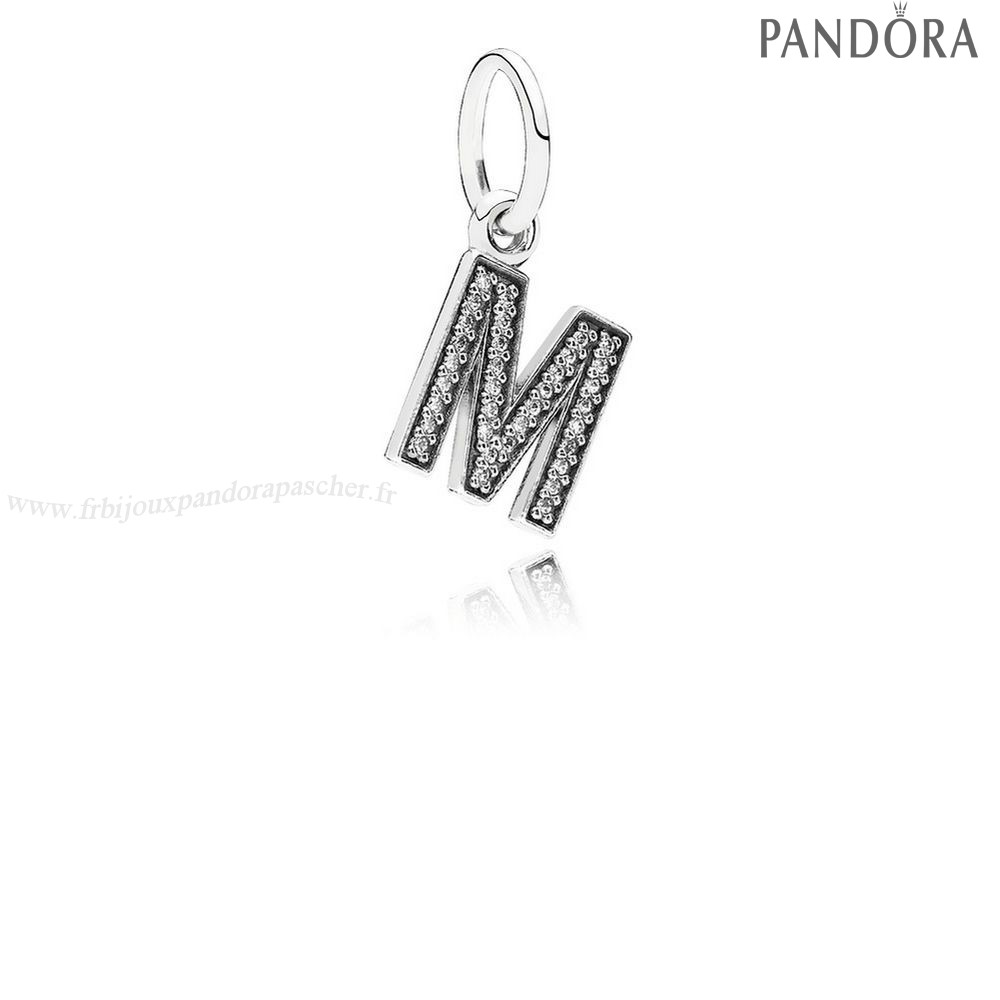 Pandora Promotion Pandora Alphabet Symbols Charms Lettre M Dangle Charm Clear Cz En Ligne
