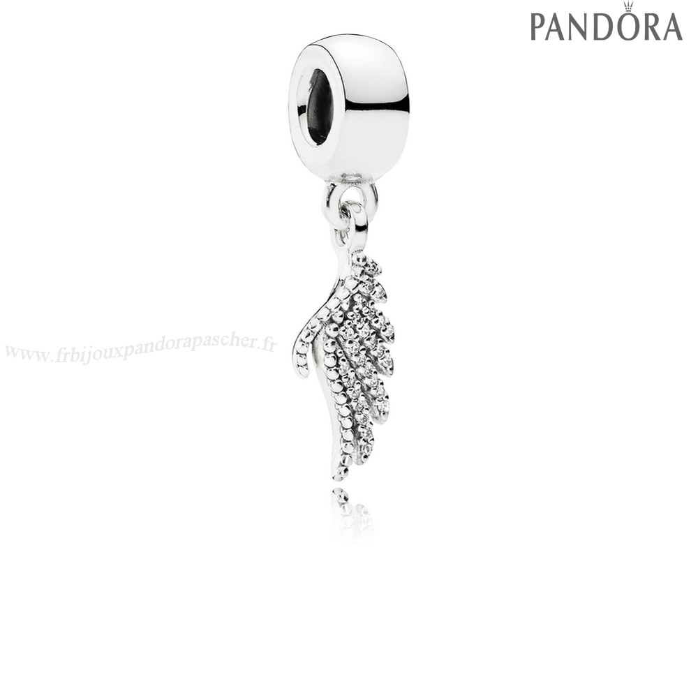 Pandora Promotion Pandora Inspirant Charms Majestueux Feather Dangle Charm Clear Cz En Ligne