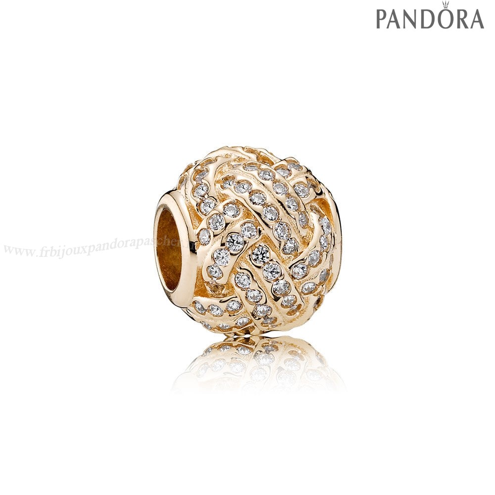 Pandora Promotion Pandora Paillettes Paves Charms Charm Noeud Amour 14K Or Clear Cz En Ligne